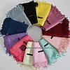 Кашемировый однотонный серый шарф палантин Cashmere 104006, фото 3