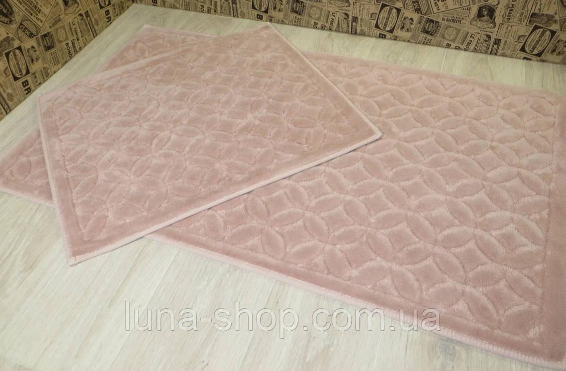 Комплект ковриков для ванной пудровый  Lavanta 019  , Турция, 60х50 и 60х100, хлопок