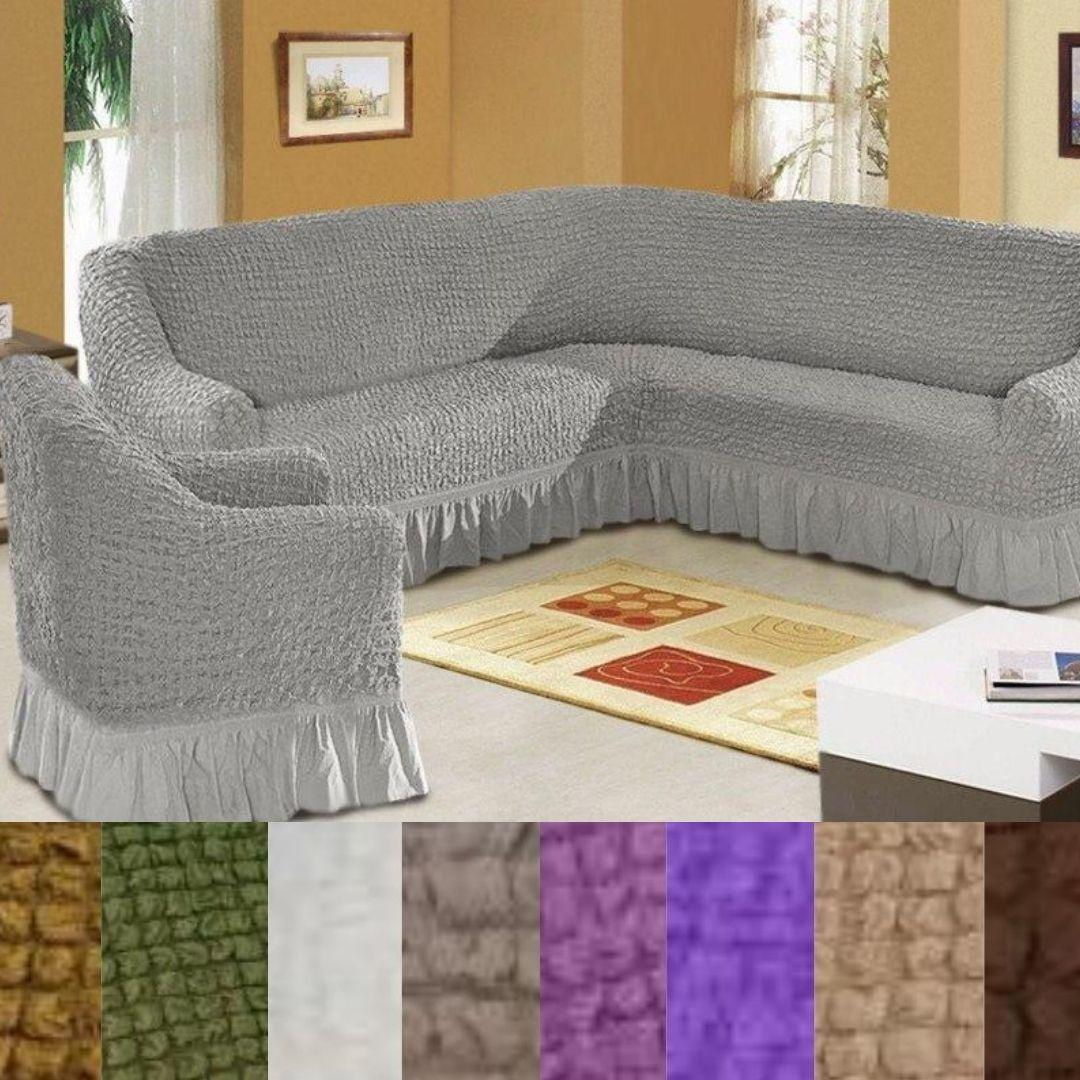 Турецкий чехол на угловой диван и кресло накидка натяжной с оборкой Серый Разные цвета