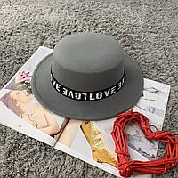 Шляпа женская канотье Love серая, фото 1