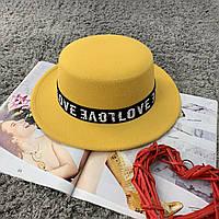 Шляпа женская канотье Love желтая, фото 1