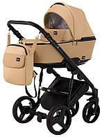 Детская коляска 2 в 1 Richmond Mirello кожа 100% (бежевый - капучино)