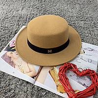 Шляпа женская канотье в стиле Maison Michel бежевая