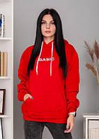 Свитшот теплый, худи женская красная белая на флисе