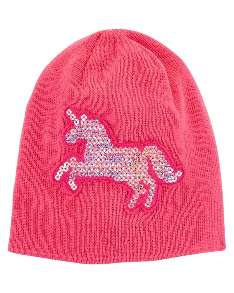 Яркая демисезонная шапочка с единорогом из пайеток Картерс для девочки