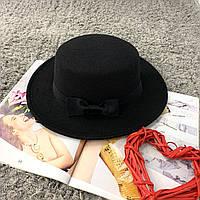 Шляпа женская канотье с бантом черная, фото 1