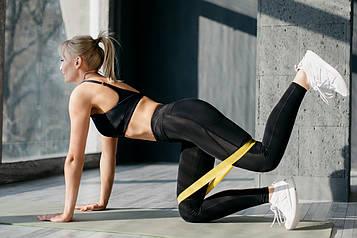🔝 Фитнес резинка в наборе 3 цвета (черный, желтый, синий) спортивная резинка для тренировок Raciness   🎁%🚚