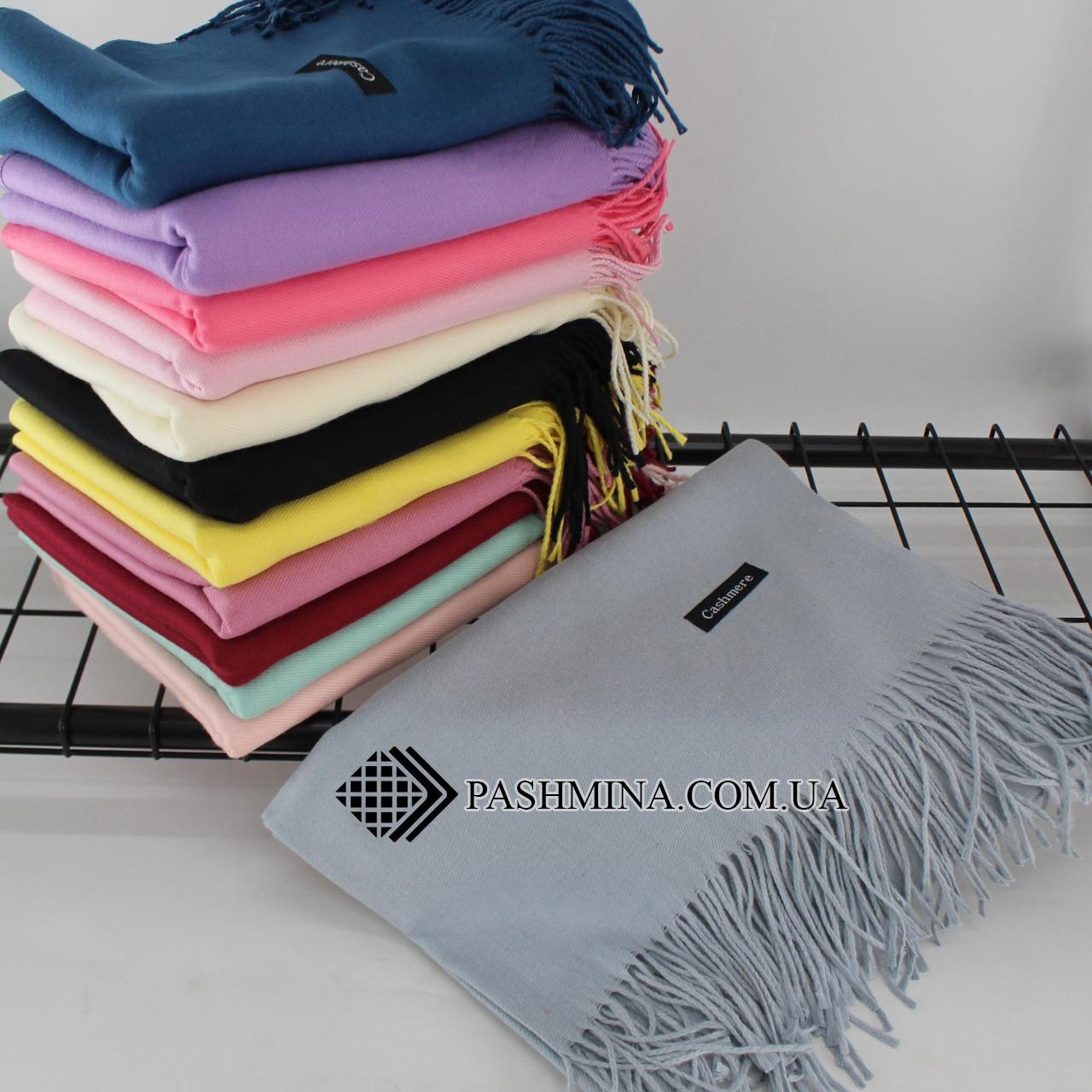 Кашемировый однотонный серый шарф палантин Cashmere 104006