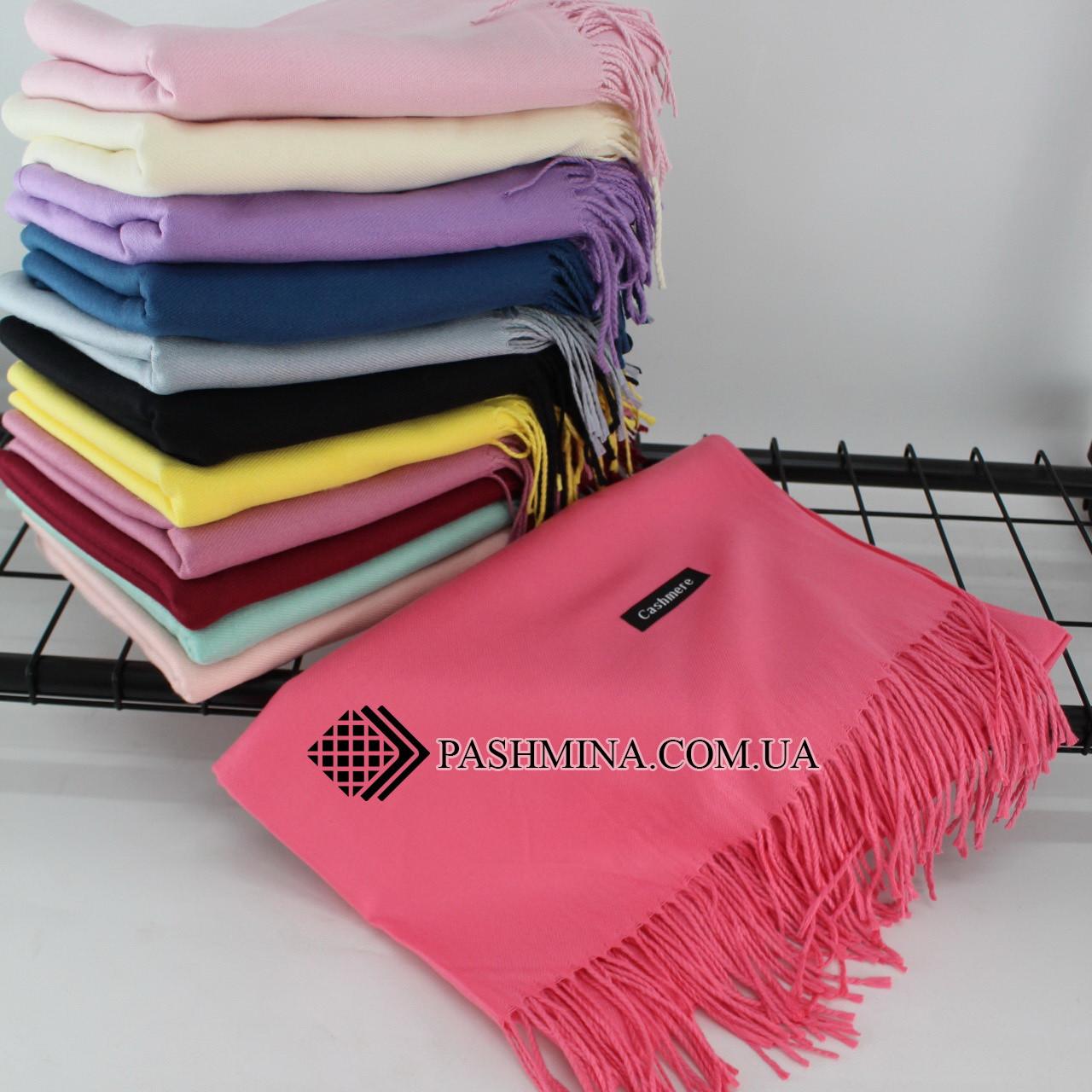 Кашемировый однотонный коралловый шарф палантин Cashmere 104003