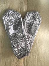 Жіноча рукавичка з вовни, ангори на резинці подовжена