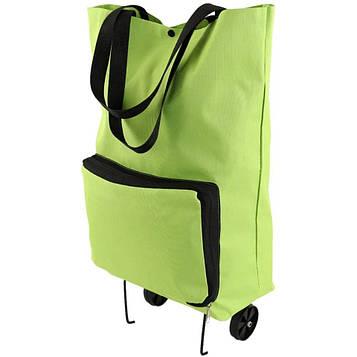 Сумка на колесах господарська складна кравчучка на коліщатках - тачка - візок для покупок зелена (SV)