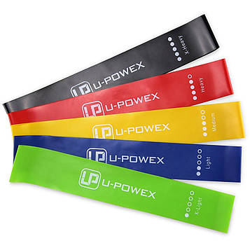 🔝 Фитнес резинка, (57259), в наборе 5 цвеов, спортивная резинка для тренировок, U-Powex   🎁%🚚
