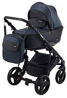 Детская коляска 2 в 1 Richmond Mirello кожа 100% (темно-синий - черный)