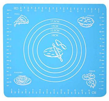 Силіконовий килимок для розкочування тіста і випікання в духовці, 29x26 див., колір - блакитний (SV)