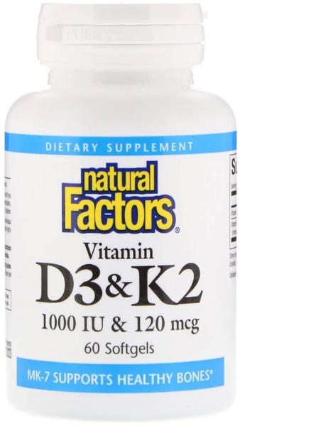 Витамин D3 и К2 Natural Factors Vitamin D3 & K2 (60 г)