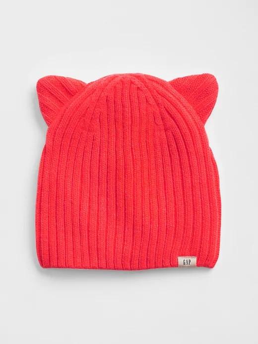 Симпатичная демисезонная шапочка с ушками Гэп для девочки