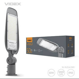 LED ліхтар вуличний VIDEX (поворотний) 50W 5000K Сірий VL-SLе14-505 25745