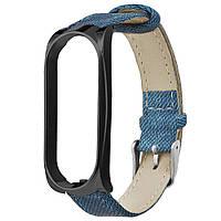 Ремешок Gasta Jeans Blue для фитнес браслета Xiaomi Mi Band 3 and Mi Band 4 color Black, фото 1