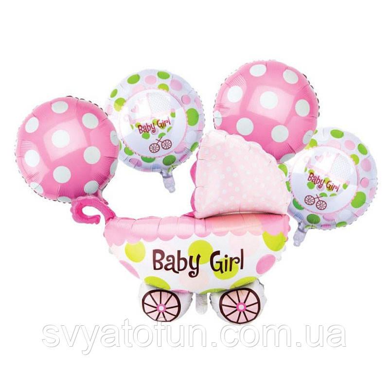 Набор фольгированных шаров Коляска девочка  5шт Китай