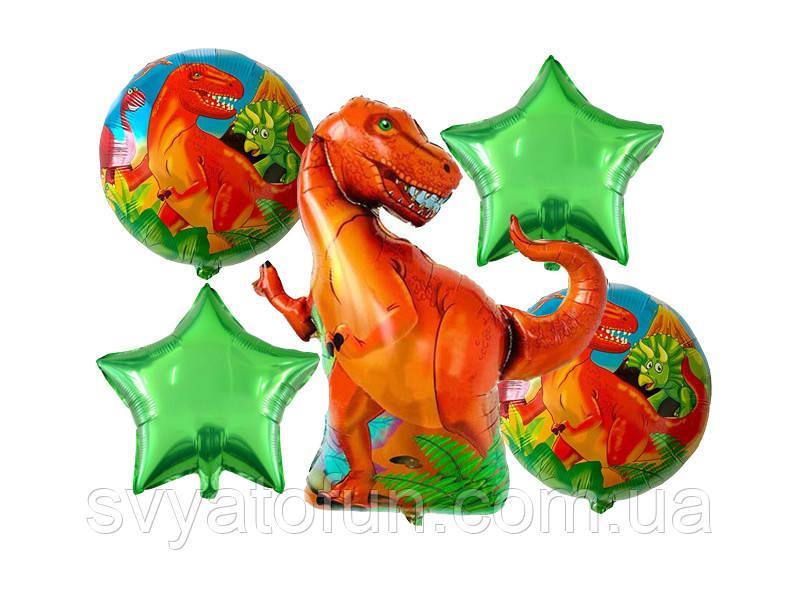 Набор фольгированных шаров Динозавр зеленые звезды 5шт Китай