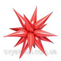 """Фольгированный шар звезда-ёжик красный 26"""" Китай"""