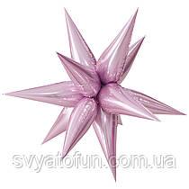 """Фольгированный шар звезда-ёжик розовый 26"""" Китай"""