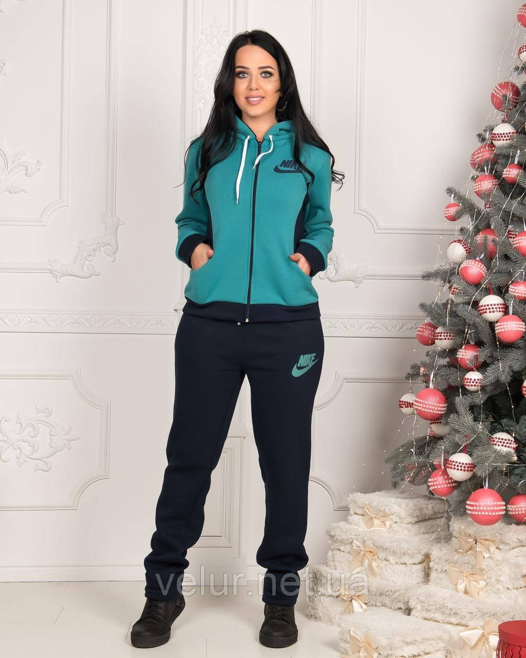 Жіночий трикотажний спортивний костюм на флісі-3 кольори, Розміри:48