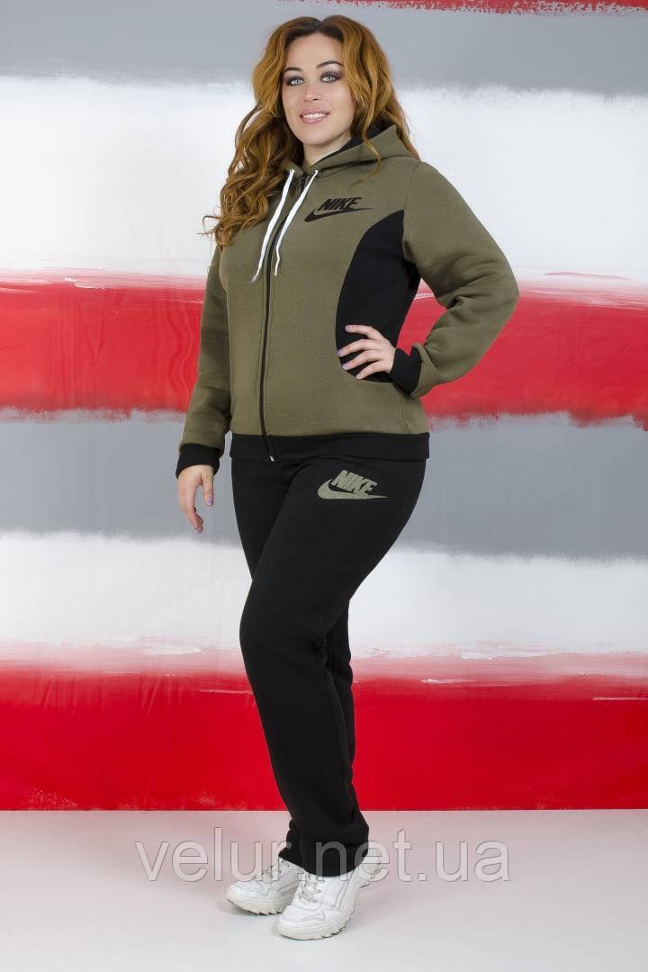 Жіночий трикотажний спортивний костюм на флісі-3 кольори, Розміри:48,50,52,54