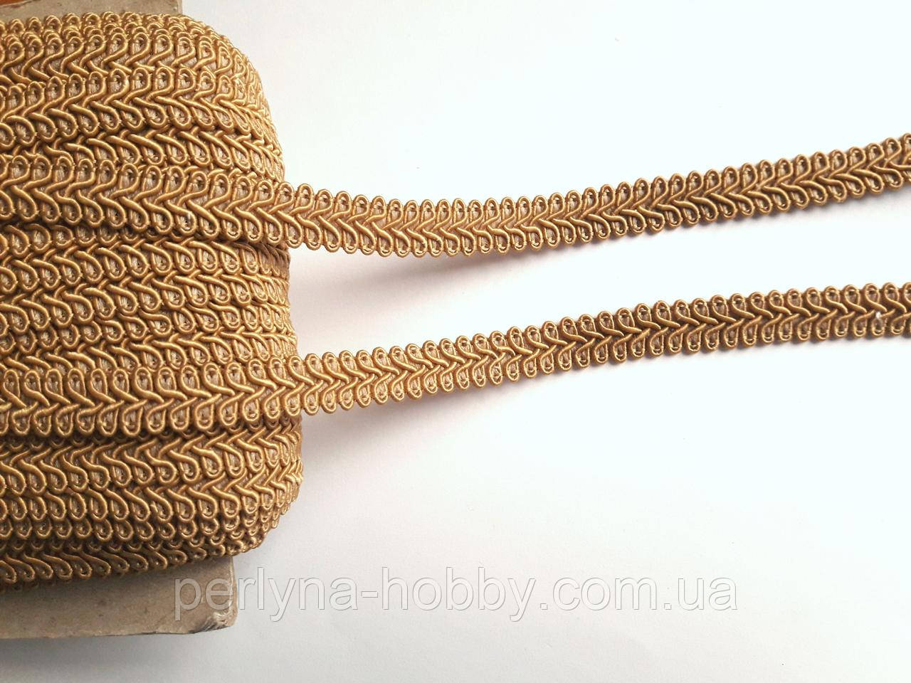 Тесьма декоративная шубная шанель, Тасьма шубна косичка на метраж 1,3 см, бежева з рудим відтінком