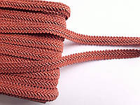 Тесьма декоративная шубная шанель, Тасьма шубна косичка 1,3 см. Терракотова матова. Ціна за 50 метрів