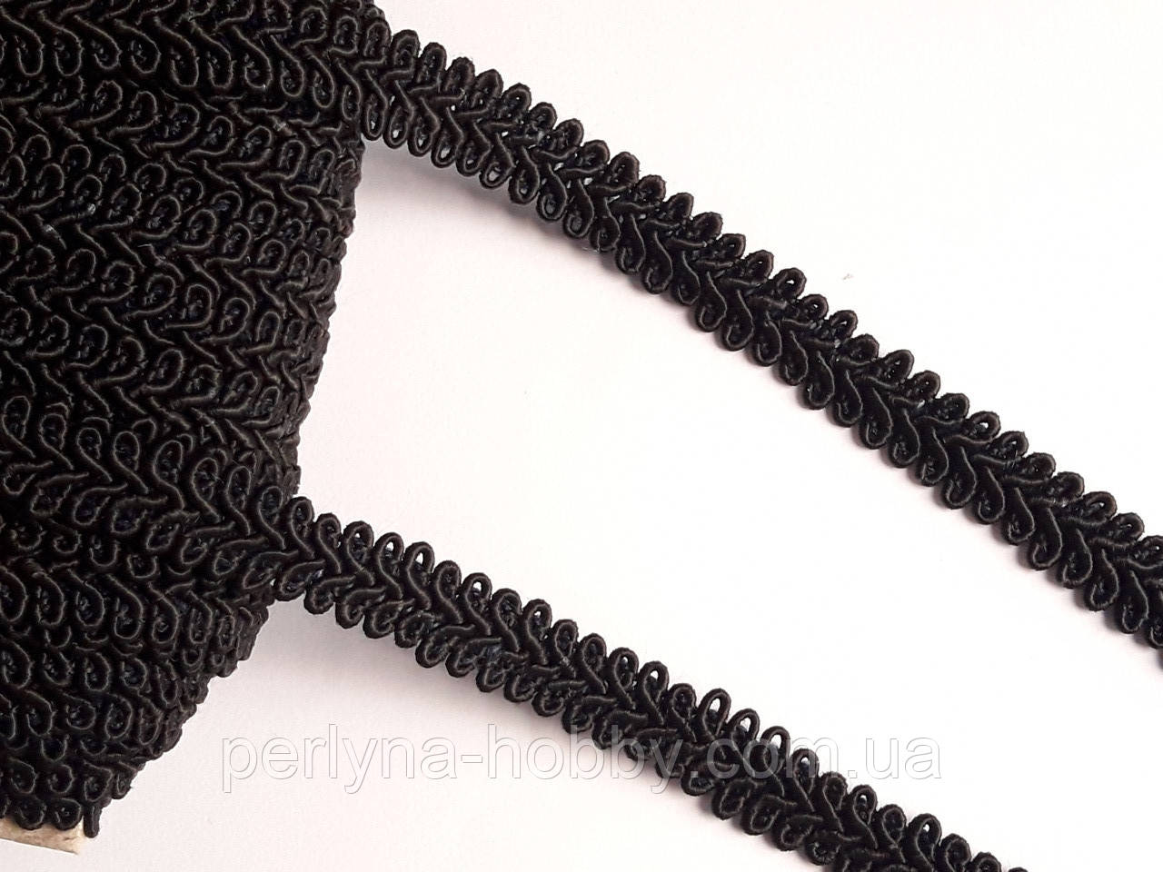 Тесьма декоративная шубная шанель, Тасьма шубна косичка  на метраж 1,3 см. Чорна