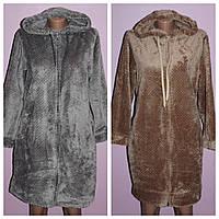 Женский махровый халат на молнии  с капюшоном., фото 1