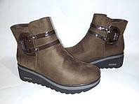 Ботинки женские на платформе,замшевые демисезонные, на удобная и стильная модель, цвет коричневый