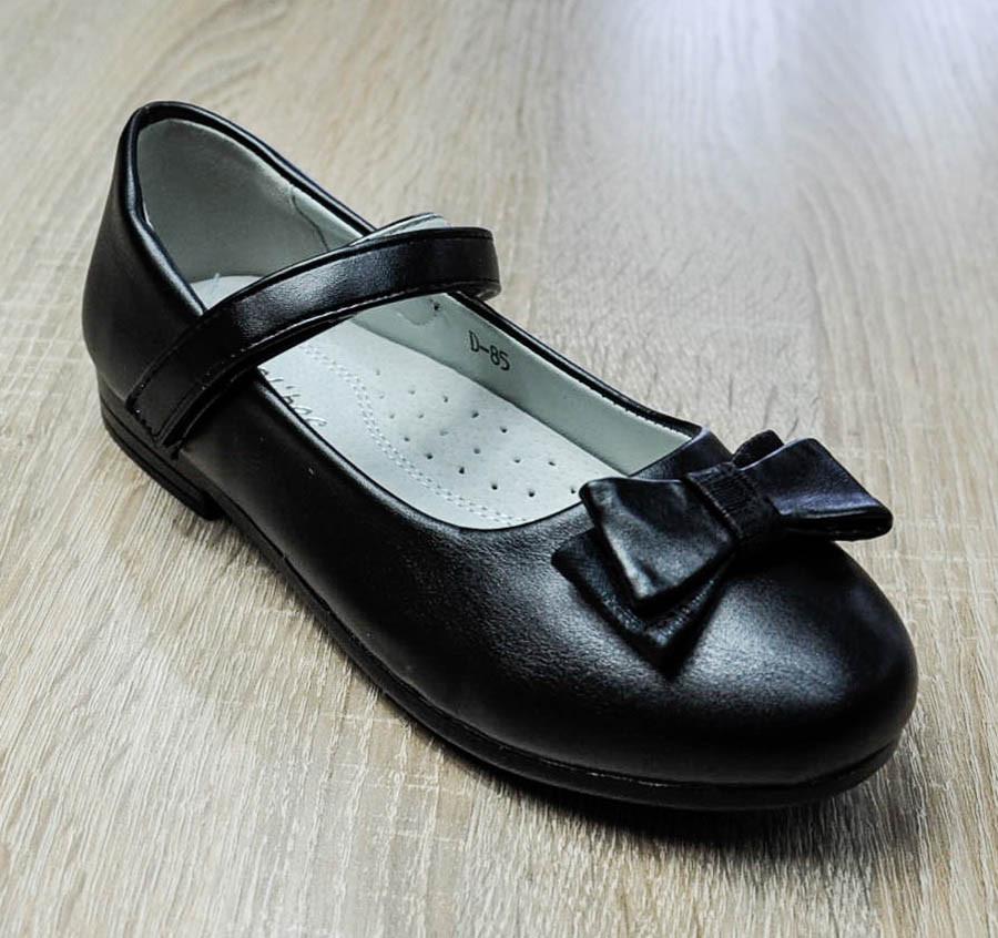 Туфли черного цвета декорированные бантиком для девочки, Clibee