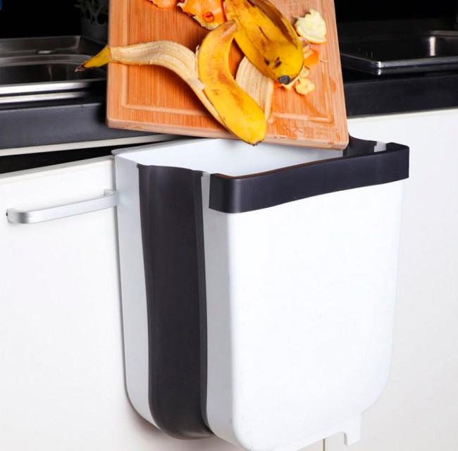 Складное навесное мусорное ведро на дверцу в кухню или ванную Folding trash can серое, с доставкой