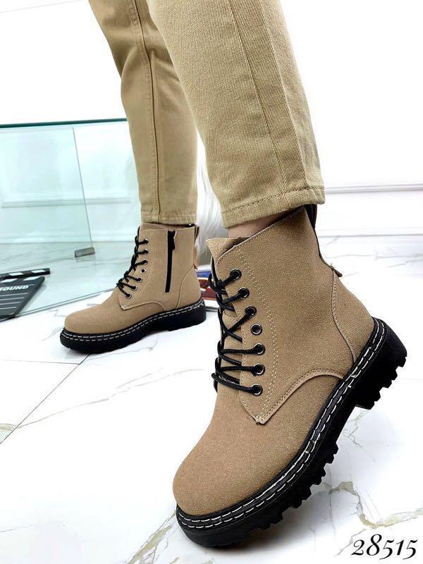 Ботинки женские демисезон Horoso на шнурках бежевые