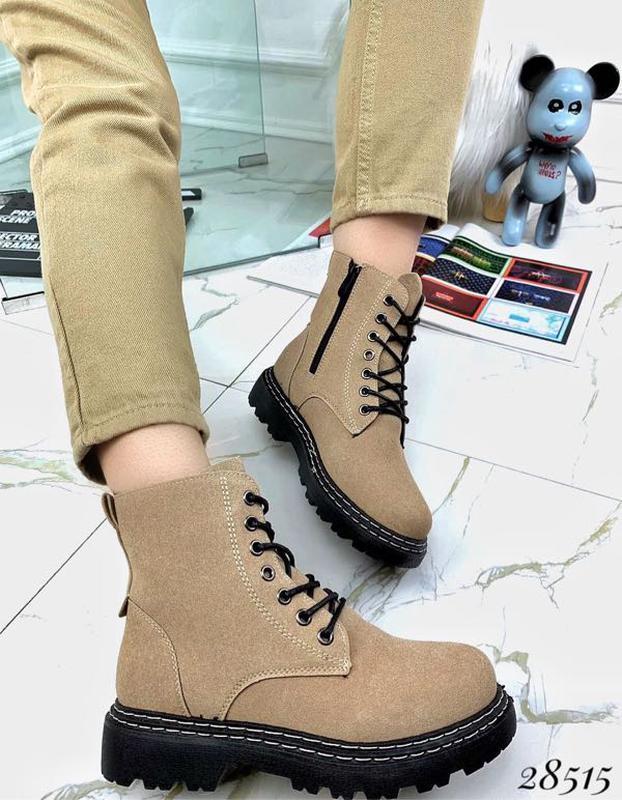 Ботинки женские демисезон Horoso на шнурках черные