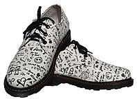 Женские кожаные туфли мартинс Kurag 1-009-37 белые с принтом 37