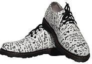 Женские кожаные туфли мартинс Kurag 1-009-37 белые с принтом 37, фото 3