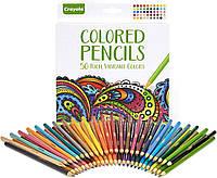 Цветные карандаши Crayola Colored Pencil, подарочный набор карандашей для рисования, 50 цветов Крайола