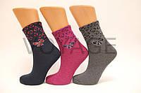 Жіночі шкарпетки середні стрейчеві п/е НЛ 23-25 М-5 леопарл бантик