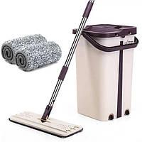 Швабра лентяйка и Ведро Scratch Cleaning Mop со складной ручкой, НАСАДКИ МИКРОФИБРЫ В ПОДАРОК!