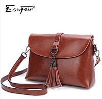 Кожаная женская сумка из натуральной кожи. Маленькая женская сумка через плечо Коричневая