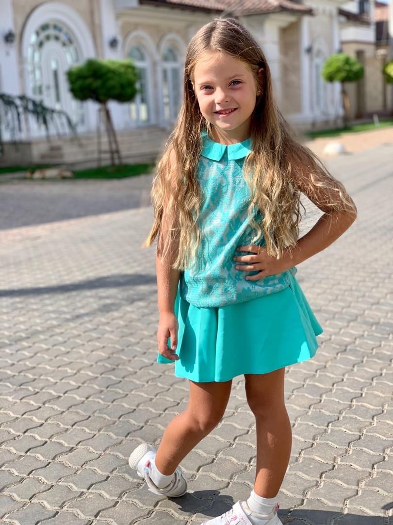 Детский костюм для девочек гипюр кружевнойна рост 116, 122, 128 см