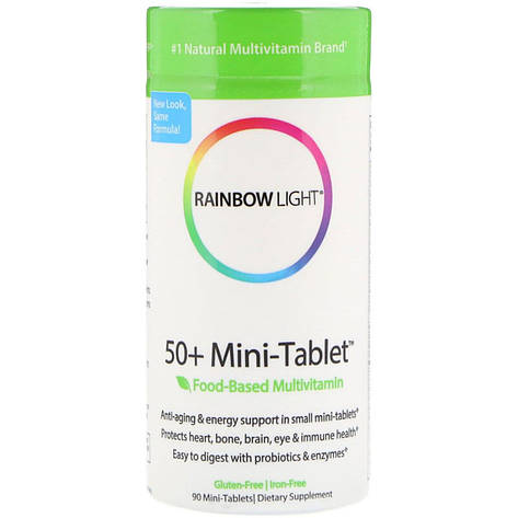 50+ Пищевые Мультивитамины для взрослых, Food-Based Multivitamin, Rainbow Light, 90 мини таблеток, фото 2