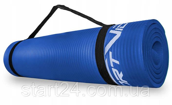 Коврик (мат) для йоги и фитнеса SportVida NBR 1 см SV-HK0069 Blue, фото 2