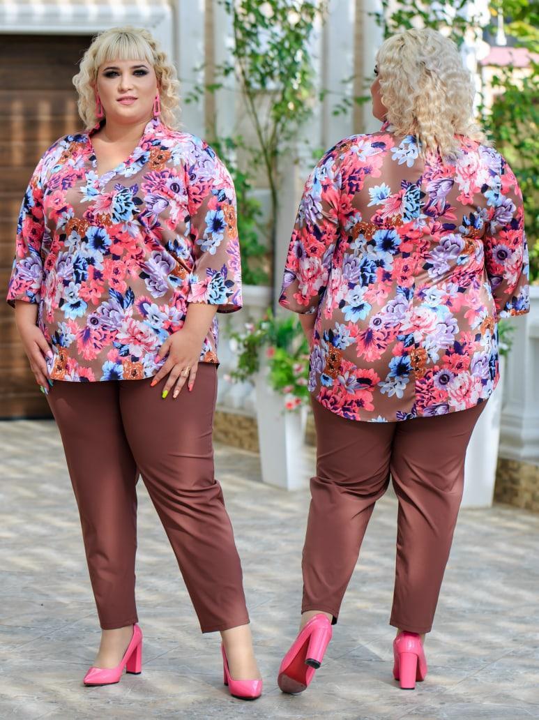 Женский брючный костюм Fashon 48-50, 52-54, 56-58 ,60-62 Батал