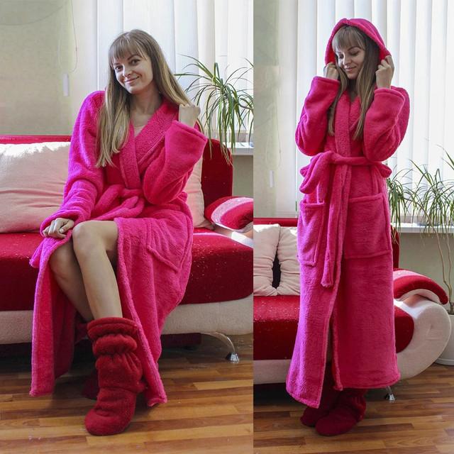 женский махровый домашний халат