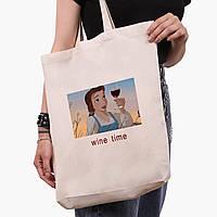"""Эко сумка шоппер белая Белль с вином """"Дисней"""" (Disney Belle) (9227-1429-1)  экосумка шопер 41*39*8 см, фото 1"""