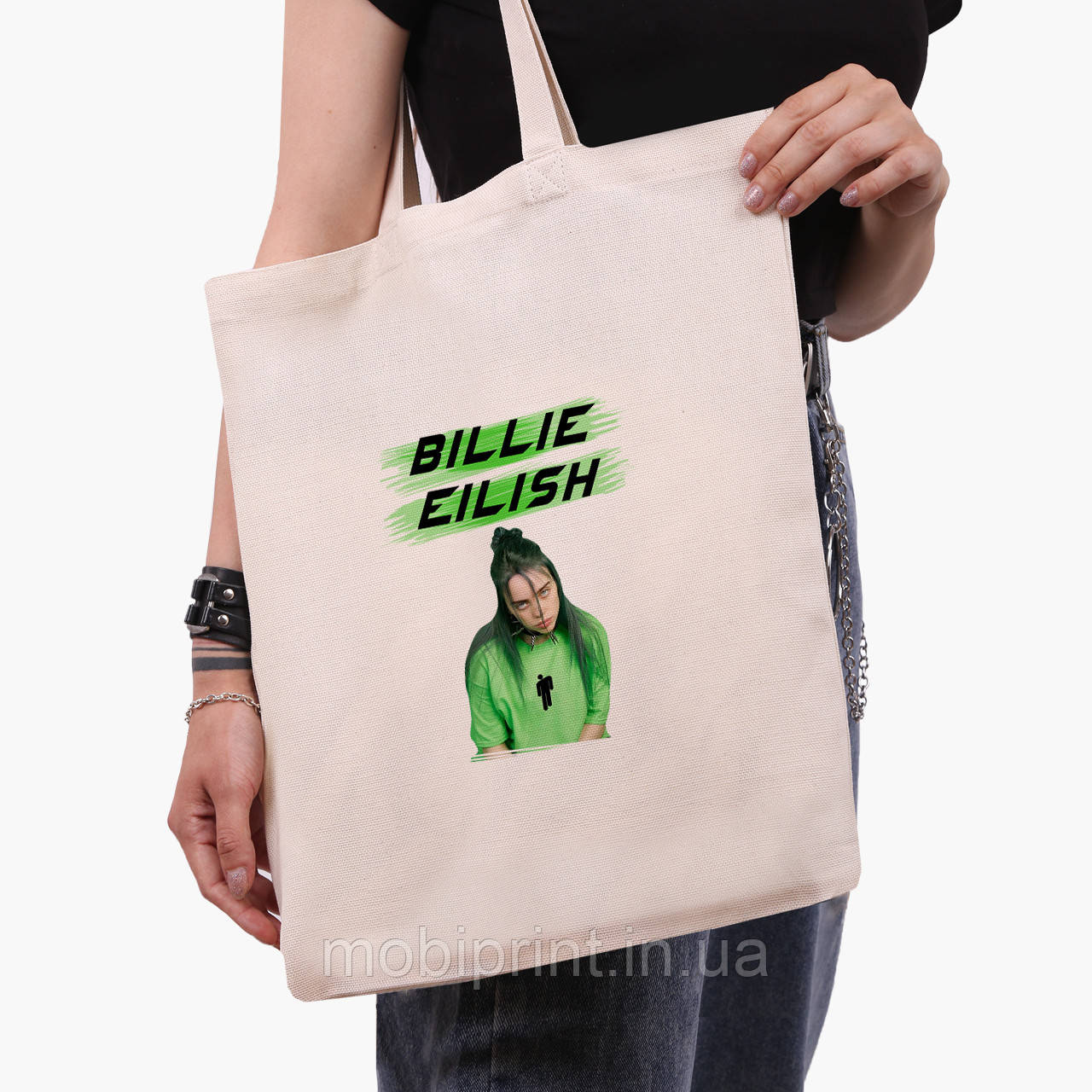 Эко сумка шоппер Билли Айлиш (Billie Eilish) (9227-1207)  экосумка шопер 41*35 см